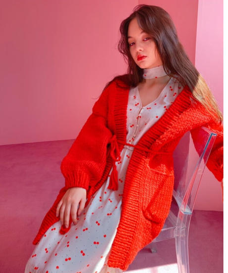 handmade knit coat RED
