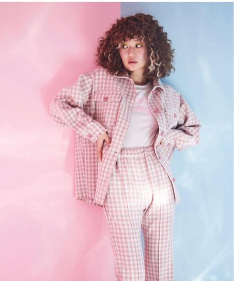 gingham check tweed  jacket PINK