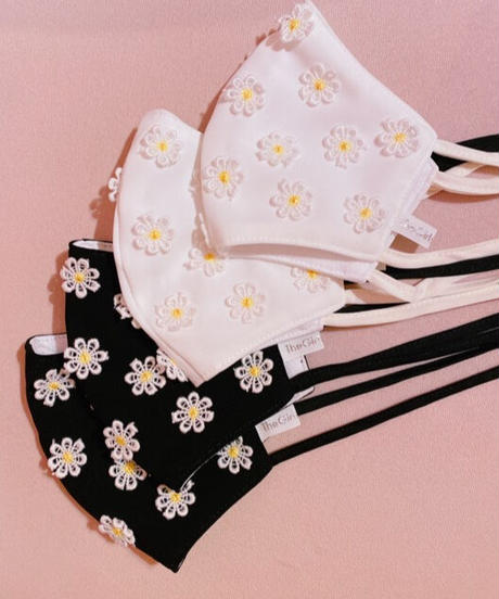 daisy face mask BLACK