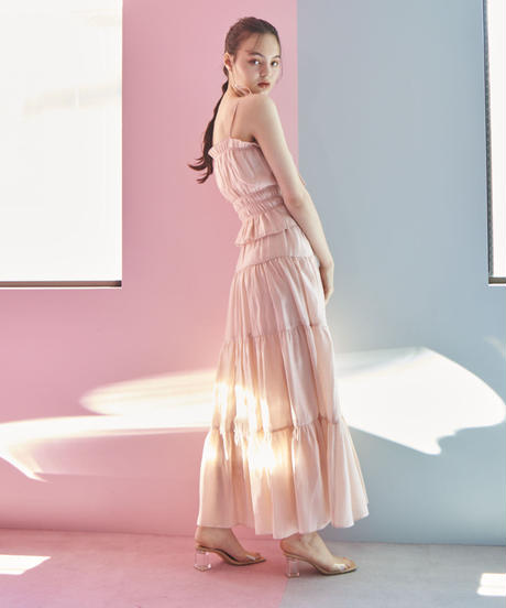 flare maxi skirt PINK