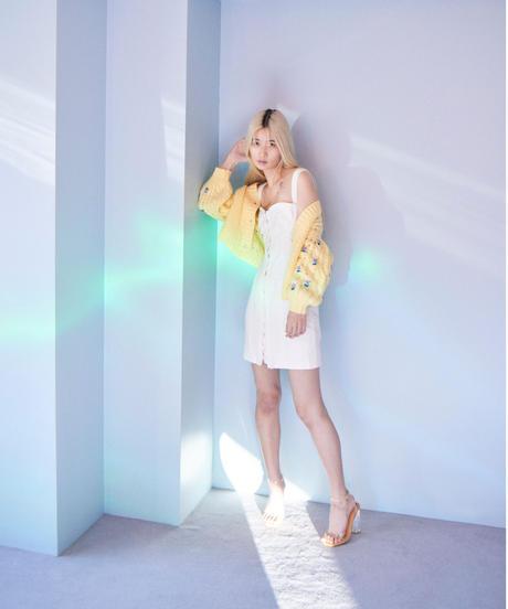 lace corcet dress WHITE