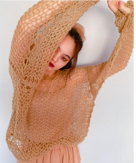 handmade mohair knit BEIGE