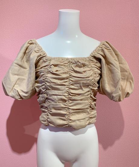 linen gather blouse BEIGE
