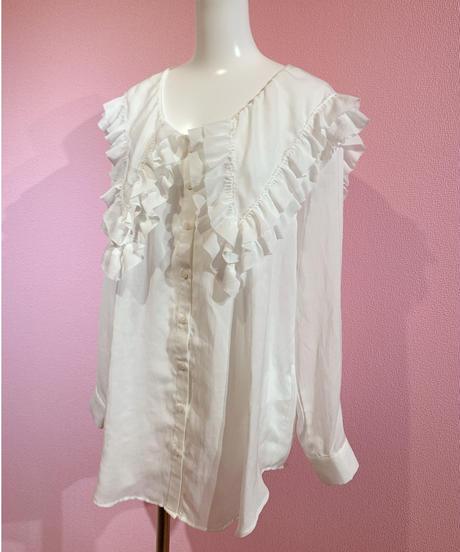 frill big collar blouse WHITE
