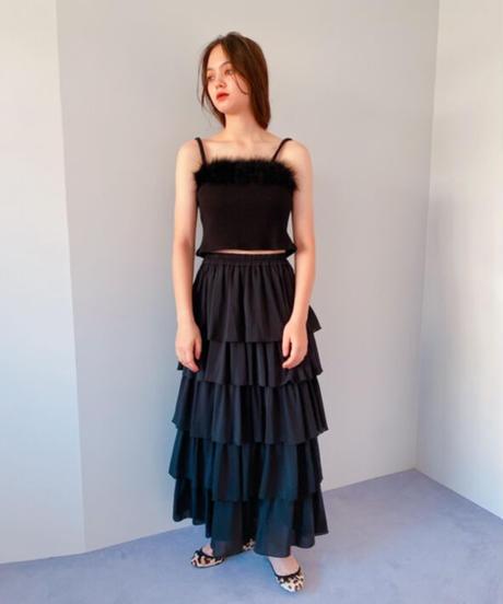 chiffon tiered skirt BLACK