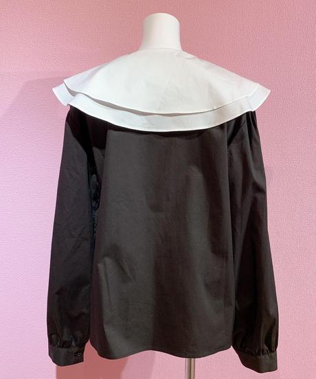 big collar shirt BLACK