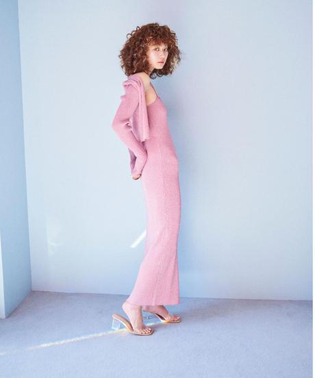 glitter knit dress PINK