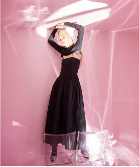 rib switching dress BLACK
