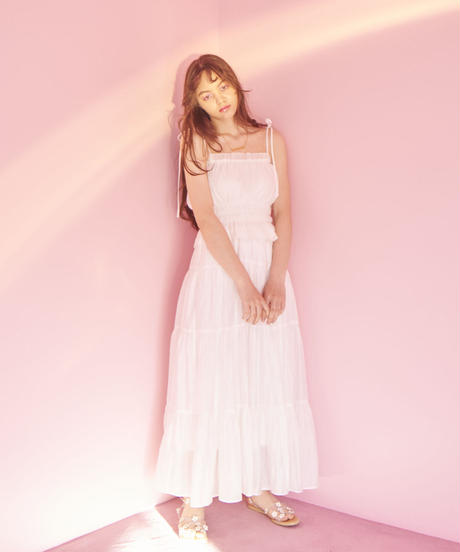 flare maxi skirt WHITE