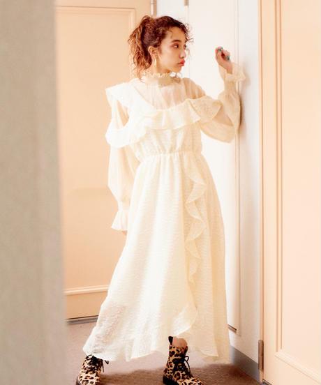 chiffon frill dress  IVORY