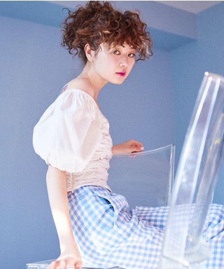 linen gather blouse WHITE
