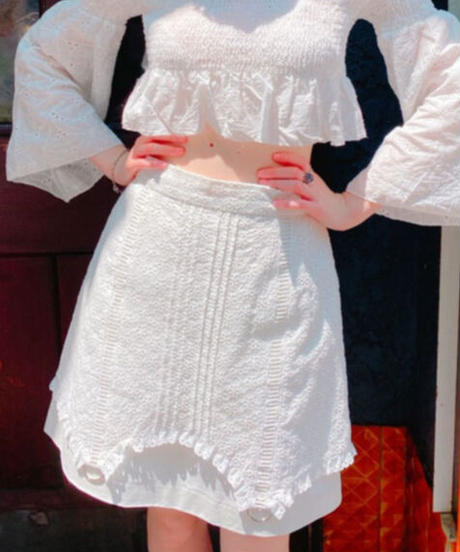 cotton lace skirt WHITE