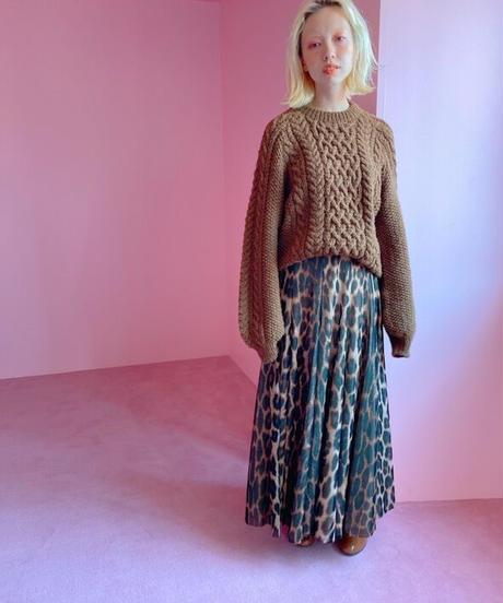 tulle long skirt LEOPARD
