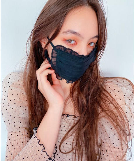 organdie frill face mask BLACK