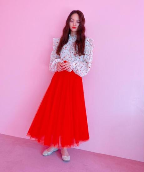 tulle long skirt RED