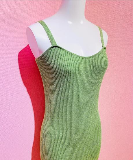 glitter knit dress GREEN