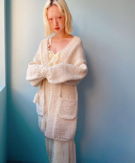 handmade knit coat IVORY