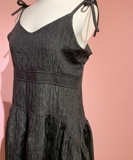 ribbon cami dress BLACK