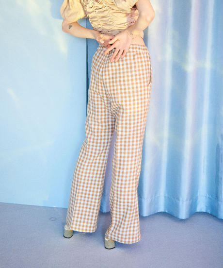 gingham check tweed  flare pants BEIGE
