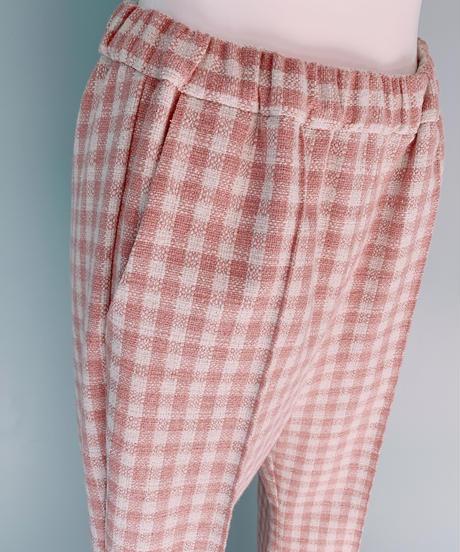 gingham check tweed  flare pants PINK