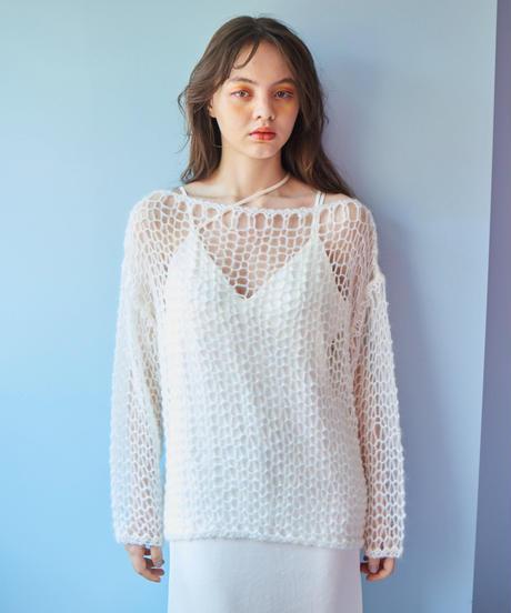 handmade mohair knit WHITE