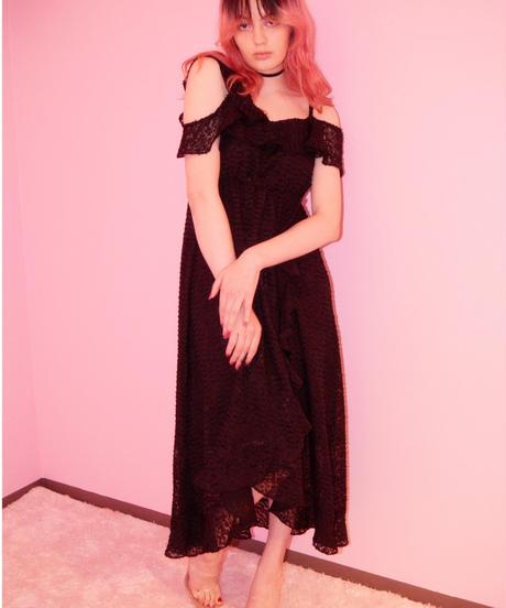 chiffon frill dress  BLACK