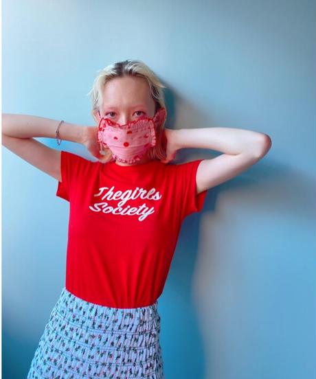 satin frill face mask PINK DOT