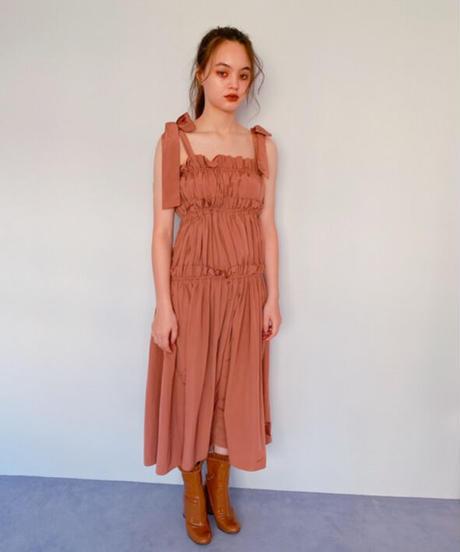 volume gather dress BROWN