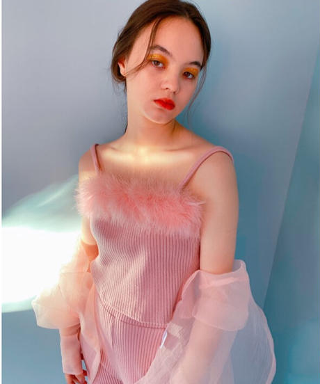 feather rib cam top PINK