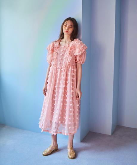 fluffy dot dress PINK