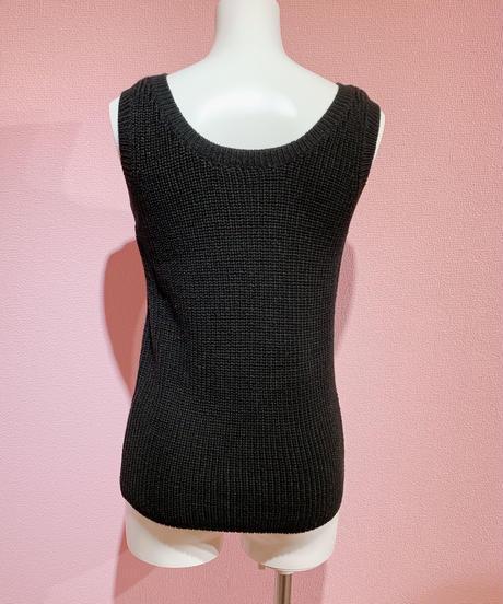 cropped knit & tank set BLACK
