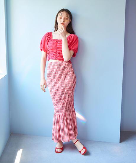 shirring skirt  RED