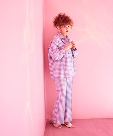 gingham check tweed jacket  BLUE