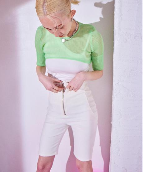 stretch half pants WHITE