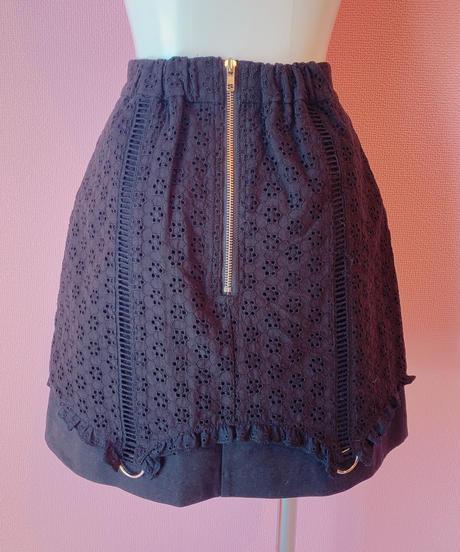 cotton lace skirt BLACK
