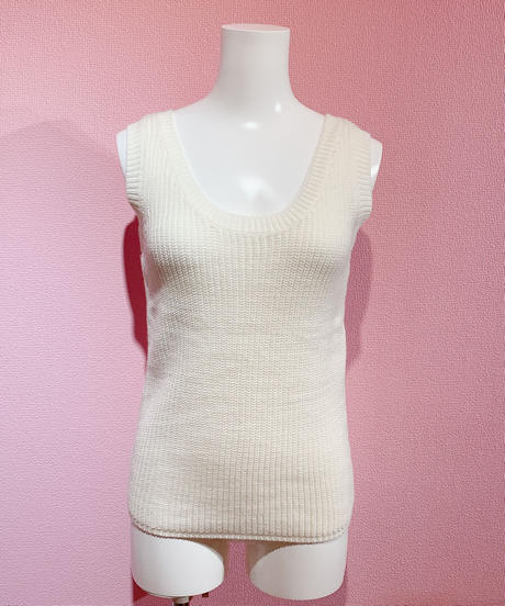 cropped knit & tank set WHITE