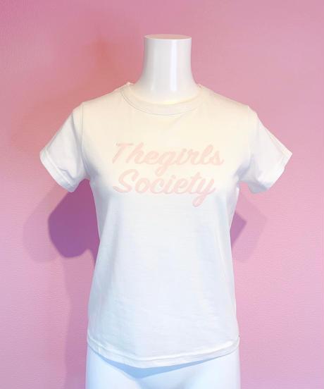 logo T-shirt WHITE×PINK