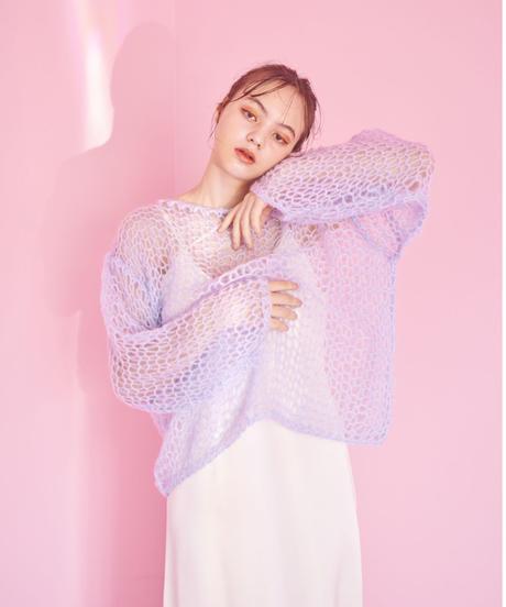 handmade mohair knit BLUE