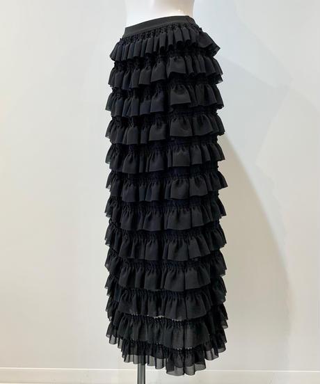 frill long skirt BLACK