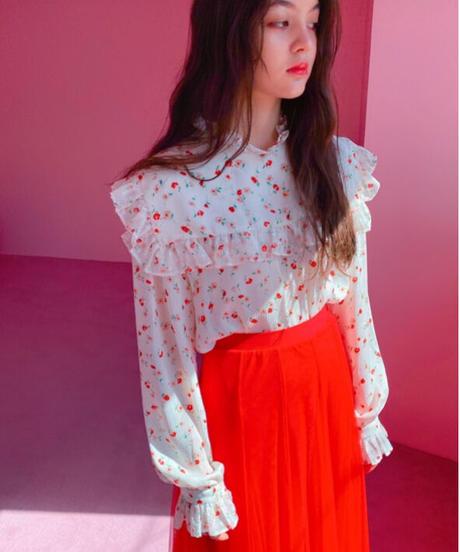flower blouse WHITE