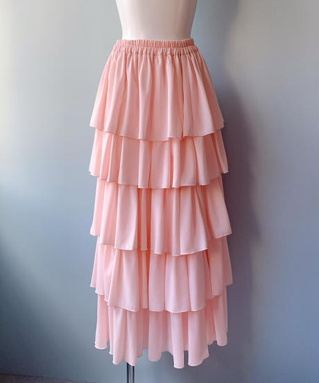 chiffon tiered skirt PINK