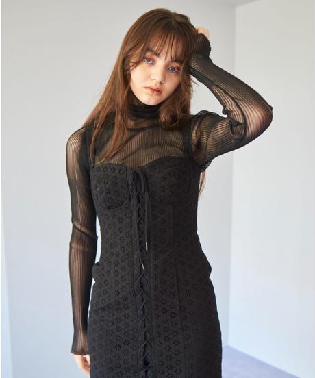 sheer rib turtleneck knit BLACK