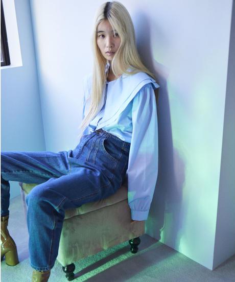 big collar shirt BLUE