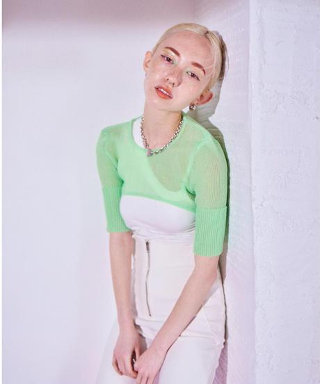 sheer cropped rib knit GREEN