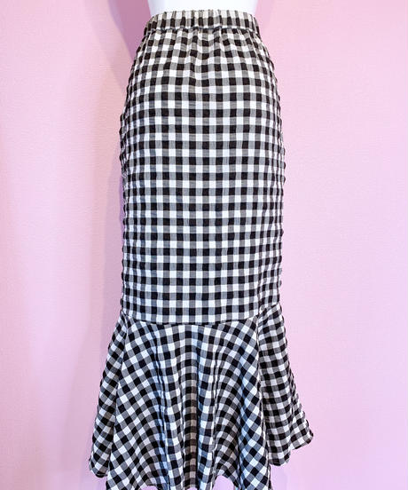 gingham check 2way mermaid skirt BLACK