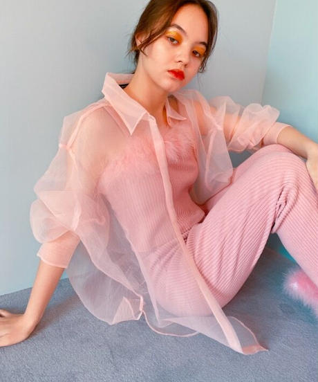 big size sheer shirt PINK