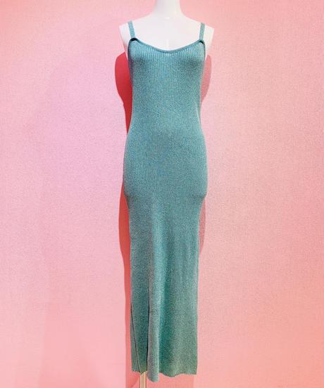 glitter knit dress BLUE