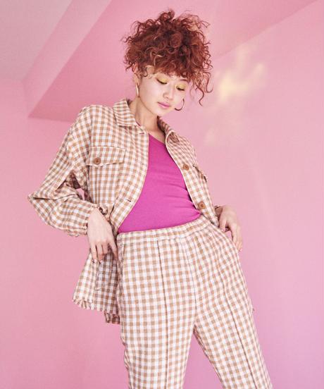 gingham check tweed  jacket  BEIGE