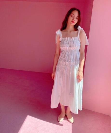 volume gather dress WHITE