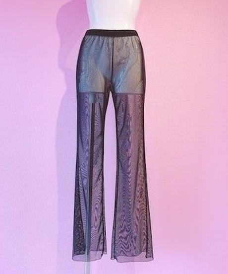 see-through flare pants BLACK